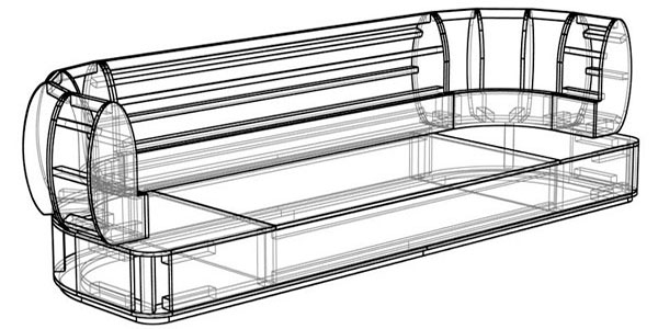 3D model of the sofa frame in lines