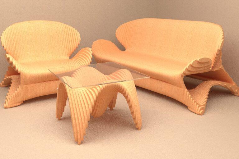 Диван, кресло и журнальный столик из фанеры в параметрическом стиле.
