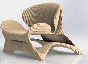 Кресло из фанеры с параметрическом стиле.