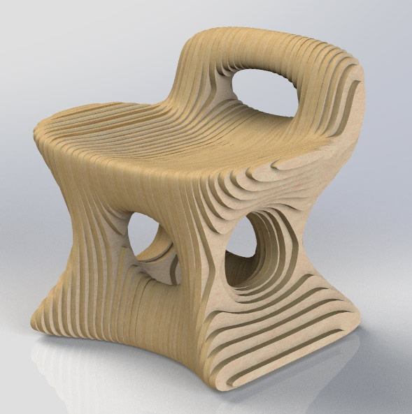 View from the front. Parametric chair.