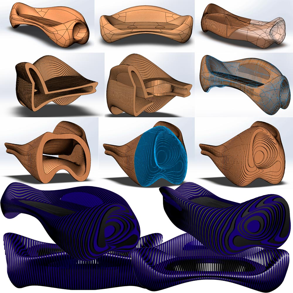New sofas design in parametric style.