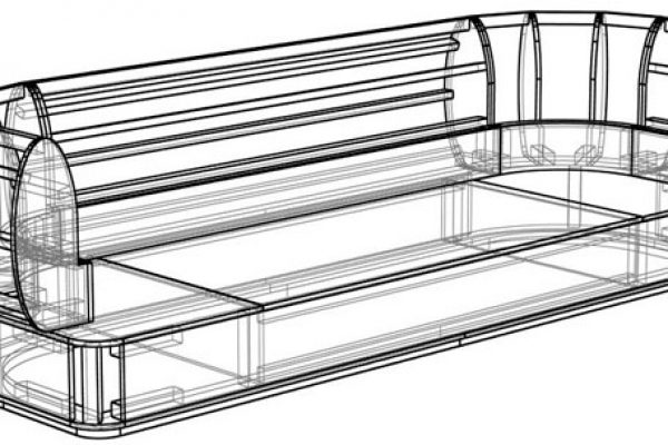 Drawing sofa frame assembly